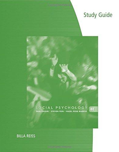 Social Psychology (Study Guide): Fein, Steven, Kassin,