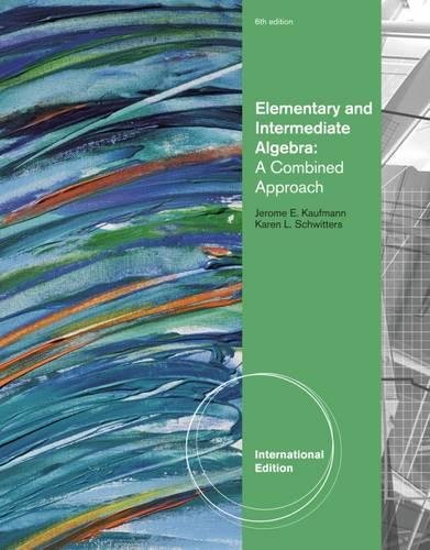 9780840053169: Elementary and Intermediate Algebra: A Combined Approach, International Edition