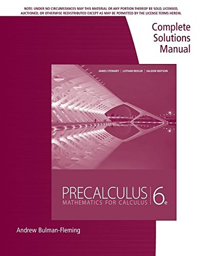 9780840068804: Precalculus: Complete Solutions Manual - Mathematics for Calculus, 6th Edition
