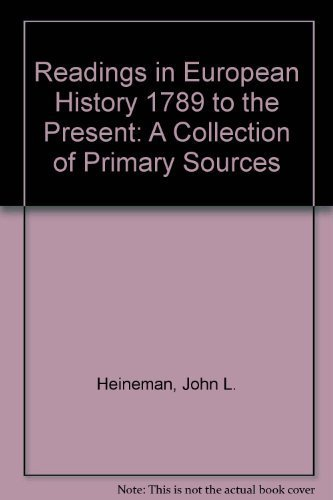 9780840391254: Readings in European History 1789 to the Present: A Collection of Primary Sources