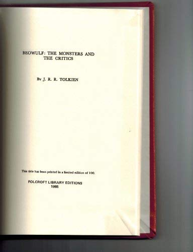 Beowulf: The Monsters and the Critics,: Tolkien, J. R.