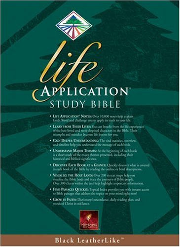 9780842354639: Life Application Study Bible, New Living Translation, Black LeatherLike