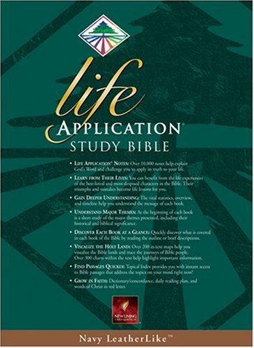9780842354677: Life Application Study Bible, New Living Translation, Navy LeatherLike