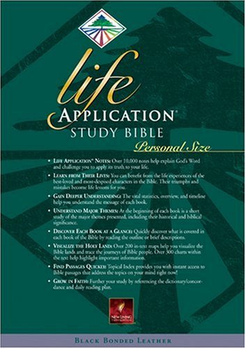 9780842368810: Life Application Study Bible NLT, Personal Size (Black Bonded Leather)