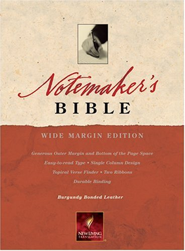 9780842375740: Notemaker's Bible: New Living Translation, Wide Margin, Burgundy Bonded Leather