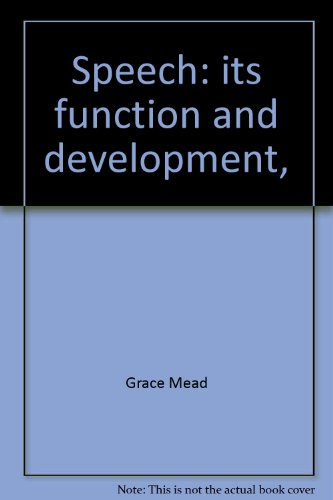 9780843401004: Speech: its function and development,