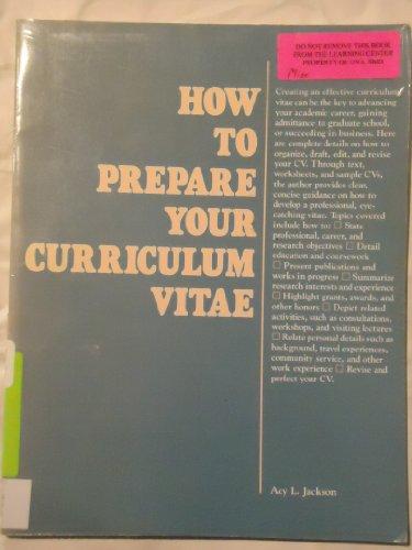 9780844241647: How to Prepare Your Curriculum Vitae (Careers Series)