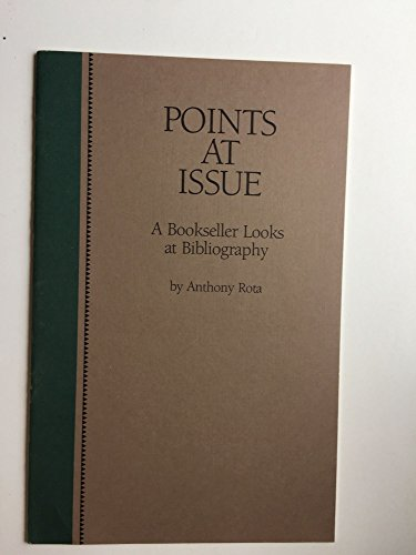 9780844404714: Points at issue: A bookseller looks at bibliography : a lecture delivered at the Library of Congress on April 24, 1984 (The Center for the Book viewpoint series)