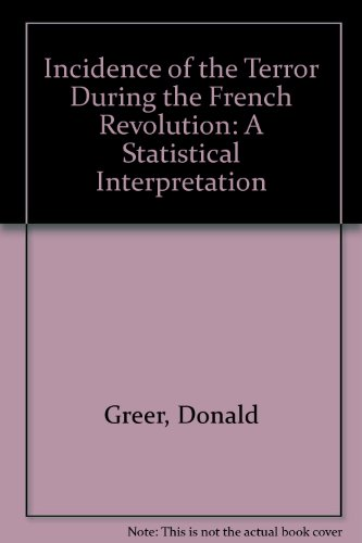 9780844612119: Incidence of the Terror During the French Revolution: A Statistical Interpretation