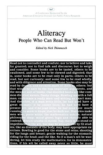 9780844722474: Aliteracy: People Who Can Read but Won't (AEI Symposia 83C)