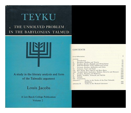 9780845345016: Teyku: The Unsolved Problem in the Babylonian Talmud : A Study in the Literary Analysis and Form of the Talmudic Argument