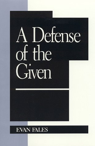 9780847683055: A Defense of the Given