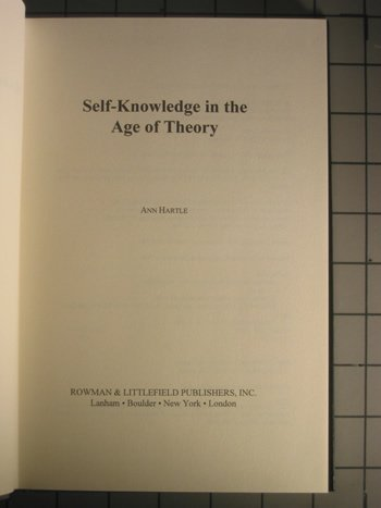 9780847684175: Self-Knowledge in the Age of Theory