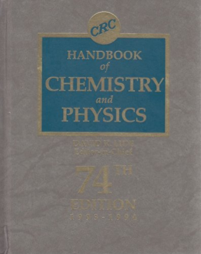 Hdbk of Chemistry & Physics 74th Edition: David R. Lide
