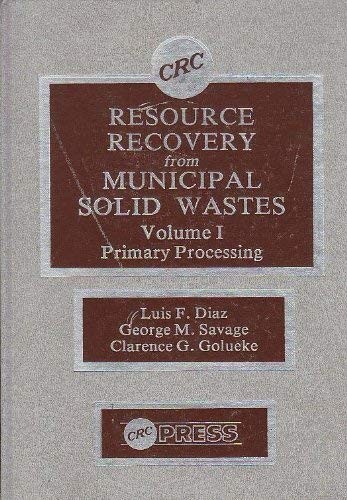 9780849356131: Resource Recovery From Municipal Solid Wastes, Vol. 1: Primary Processing