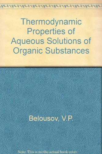 9780849393426: Thermodynamic Properties of Aqueous Solutions of Organic Substances