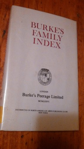 9780850110227: Burke's Family Index