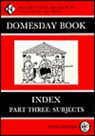9780850337044: The Domesday Book: Index, Part 3: Subjects