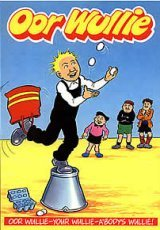 Oor Wullie : Cover Picture : Wullie Juggling Standing on a Bucket