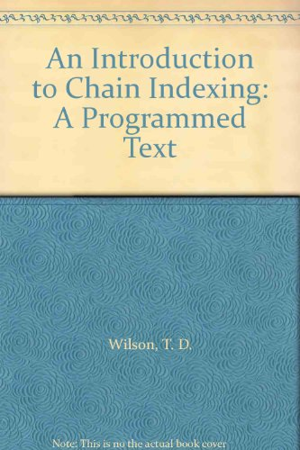 9780851571096: Introduction to Chain Indexing