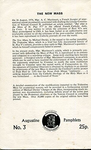 New Mass (Augustine pamphlets ; no. 3) (9780851727820) by Michael Davies