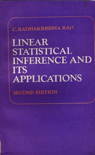 9780852267530: Linear Statistical Inference and Its Applications Second Edition