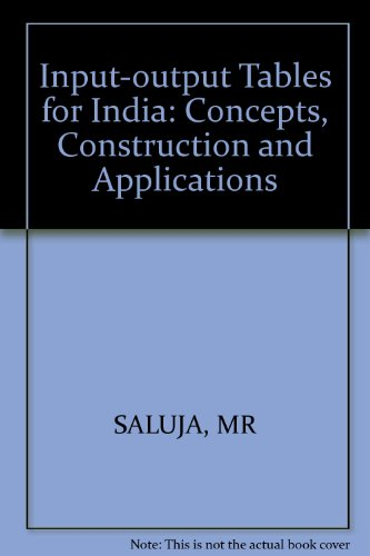 9780852267967: Input-output Tables for India: Concepts, Construction and Applications