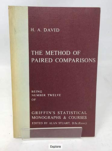 9780852640135: Method of Paired Comparisons (Statistical Monograph)