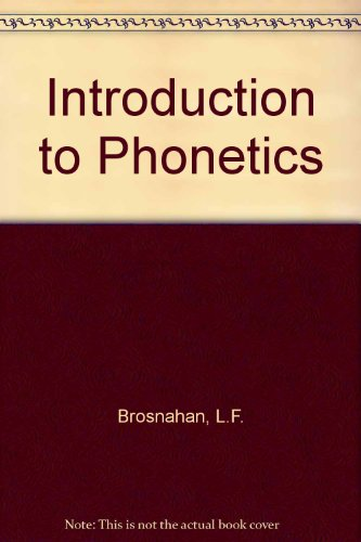 9780852700273: Introduction to Phonetics