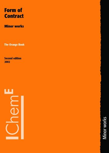 9780852954522: The Orange Book Form of Contract: Minor Works, Second Edition - IChemE
