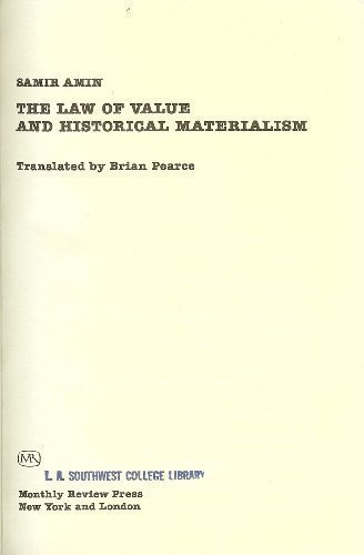 The Law of Value and Historical Materialism: Amin, Samir