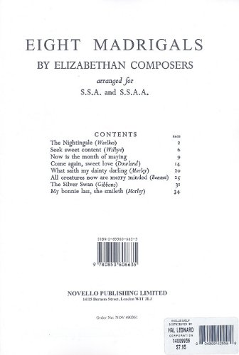 9780853606635: 8 Madrigals by Elizabethan Composers