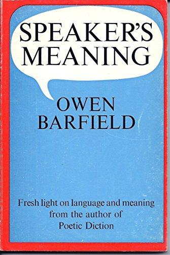 9780854402496: Speaker's Meaning