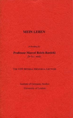 Mein Leben'. A Reading (The 1999 Bithell: Marcel Reich-Ranicki