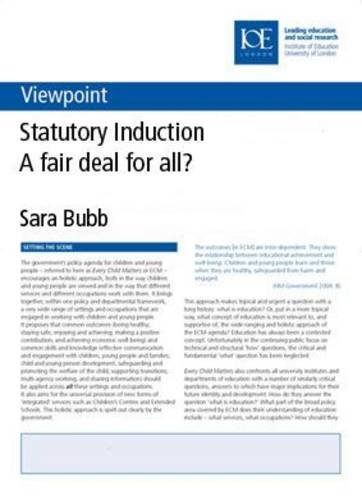 9780854736379: Statutory Induction: A fair deal for all? (Viewpoint, 12)
