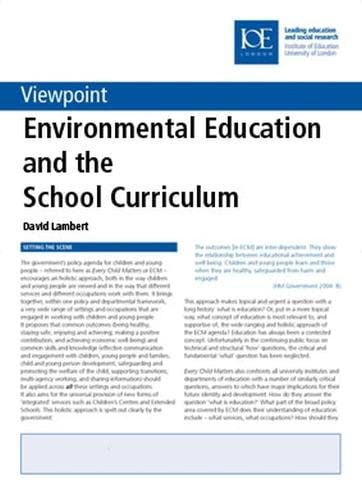 Environmental Education and the School Curriculum (Viewpoint) (0854736387) by Lambert, David