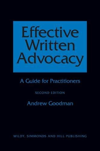 9780854900954: Effective Written Advocacy: A Guide for Practitioners