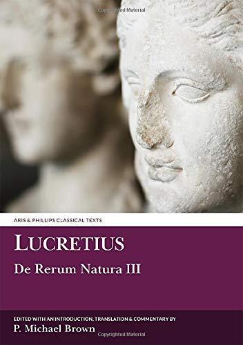 9780856686948: Lucretius: De Rerum Natura III (Aris and Phillips Classical Texts) (Bk. 3)