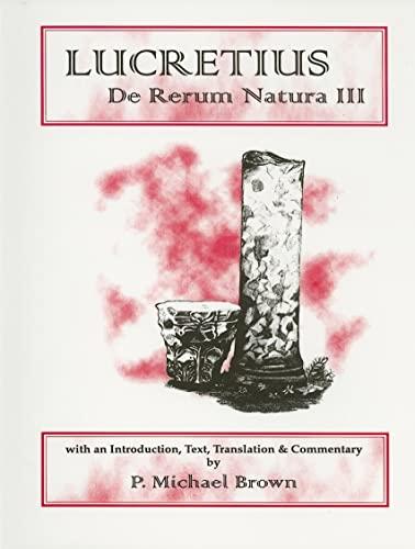 9780856686955: Lucretius: De Rerum Natura III (Aris and Phillips Classical Texts) (Bk. 3)