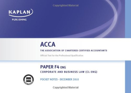 F4 Corporate and Business Law CL (UK): Pocket Notes (Acca)