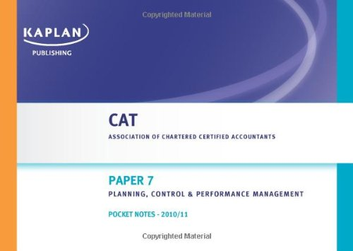 9780857320957: CAT Pocket Notes T7: Planning, Control and Performance Management