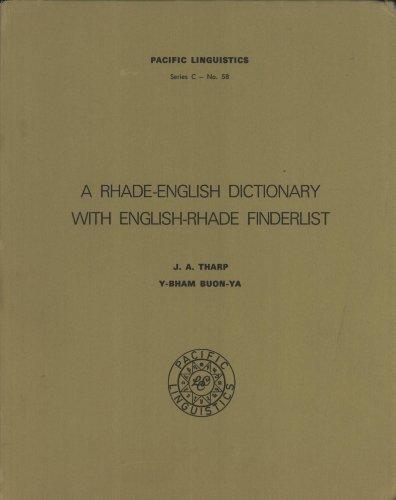 9780858832176: A Rhade-English dictionary with English-Rhade finderlist (Pacific linguistics, C-58)