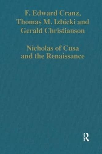 9780860788010: Nicholas of Cusa and the Renaissance (Variorum Collected Studies)