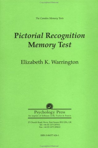9780863774263: The Camden Memory Tests: Pictorial Recognition Memory Test (Volume 4)