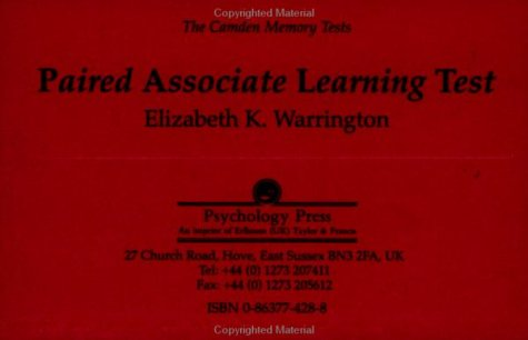 9780863774287: The Camden Memory Tests: Paired Associate Learning Test (Volume 3)