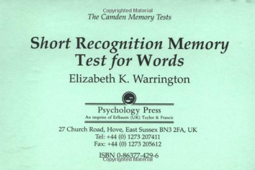 9780863774294: The Camden Memory Tests: Short Memory Test for Words (Volume 6)