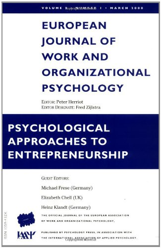 9780863776182: Psychological Approaches to Entrepreneurship: A Special Issue of the European Journal of Work and Organizational Psychology (Special Issues of the ... of Work and Organizational Psychology)