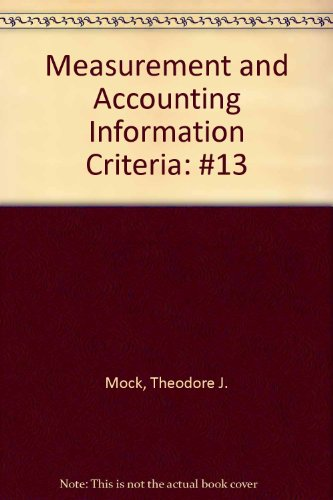 9780865390256: Measurement and Accounting Information Criteria: #13