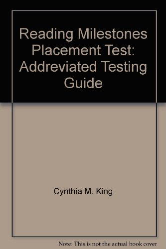 9780865755765: Reading Milestones Placement Test: Addreviated Testing Guide