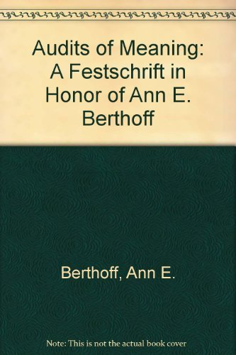 9780867092097: Audits of Meaning: a Festschrift in Honor of Ann E. Berthoff